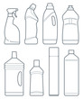 Outline image  bottles of cleaning products
