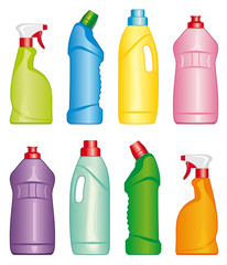 Colour illustrations bottles of cleaning products