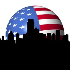 Dallas skyline with American flag sphere illustration