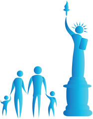 human family standing in front of statue of liberty
