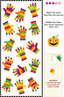 Colorful gloves puzzle - match the pairs, spot odd one out