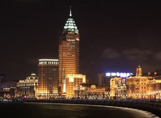 The Bund in Shanghai, China, at night
