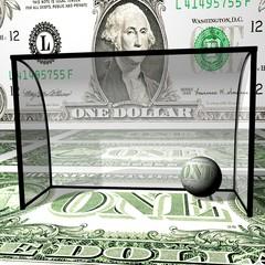 Football, dollar ball in collars, a dollar field.