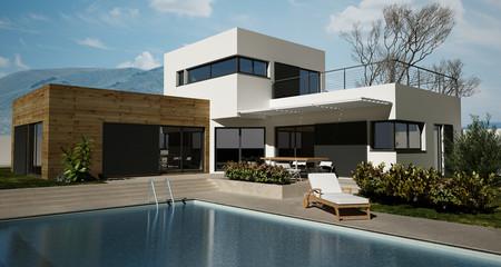 Maison en bois avec piscine