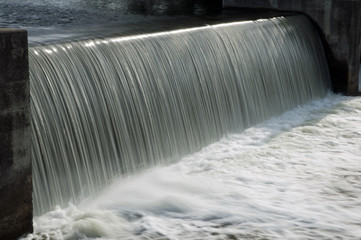 Running water from canal lock