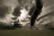 Zoom of a Large tornado over a meteo station