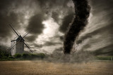 Zoom of a large tornado over a wind mill - Fine Art prints