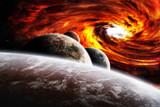 Fantasy space planets illustration with nebula - Fine Art prints