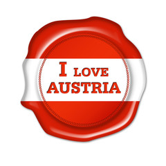 i love austria button, fan siegel, stempel