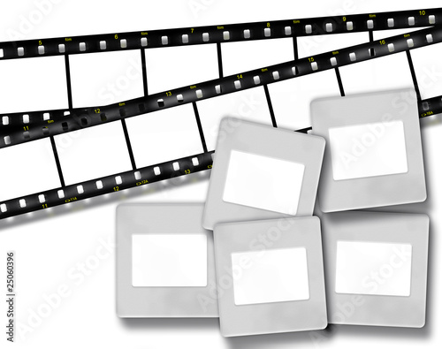 blank film stripes and blank slide photo frames