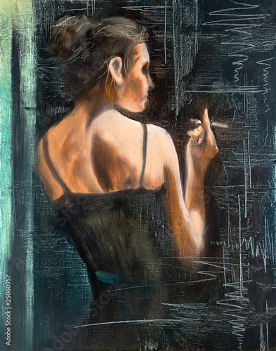 Portrait of the woman with a cigarette - 25060957