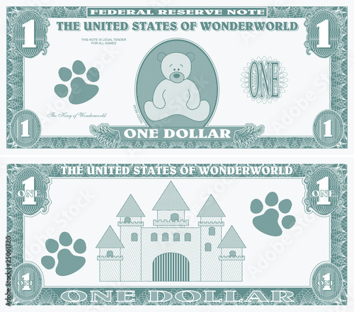 Childrens game money - one dollar bill