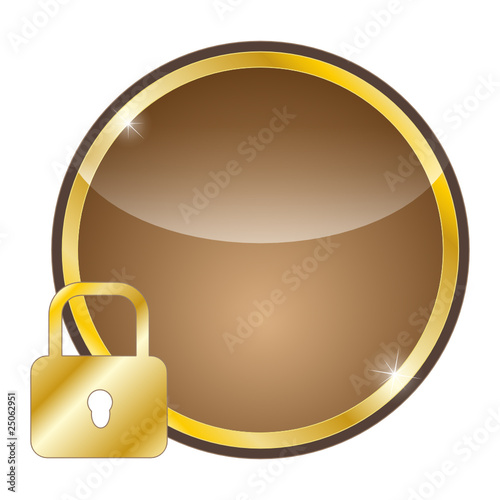 glossy golden icon - safety
