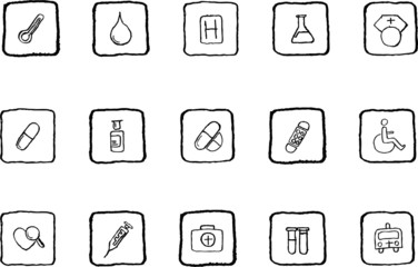 vector grunge line Healthcare and Pharma icons
