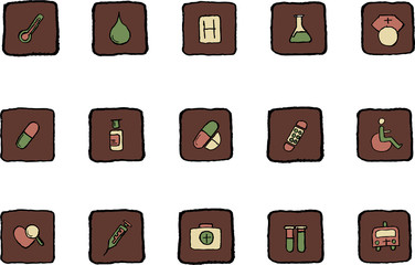 Healthcare and Pharma icons Renaissance colors vector
