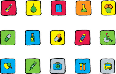 Healthcare and Pharma icons Bright colors vector