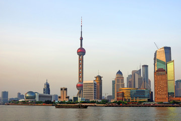Shanghai the pearl tower and Pudong skyline at sunset.