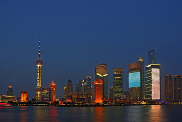 Shanghai Huangpu river and Pudong buildings  night view.