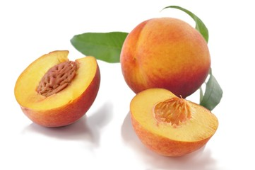 peaches with leaves