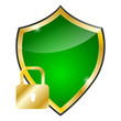 glossy green and golden shield - protection