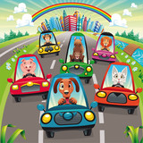Traffic on the road. Vector illustration, isolated objects.