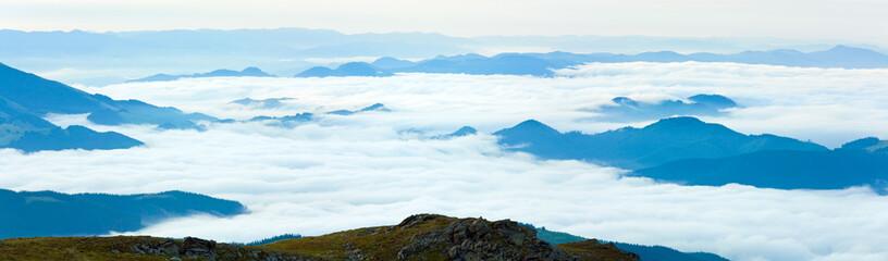 Summer cloudy mountain panorama view