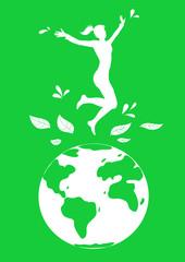 Ecologia: icona di donna che salta sulla terra