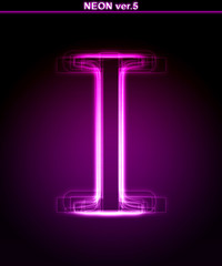 Glowing font. Shiny letter I