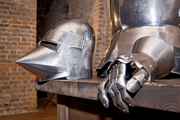 Medieval armor in old interior.