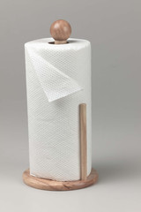 wooden paper towel holder with roll of paper towels