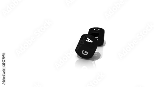 Black 3D dices rolling into a white environment