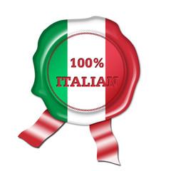 100% italian button, seal, stamp