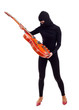 thief in black balaclava with electric guitar