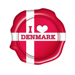 i love denmark button, stamp, seal