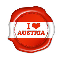 i love austria button, siegel, stempel