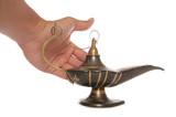 Rubbing magic oil lamp poster