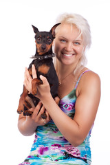 Studio shot of dog and owner