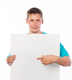 Young man with a blank board