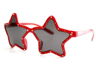 Red, Star Shaped Sunglasses Isolated on a White Background