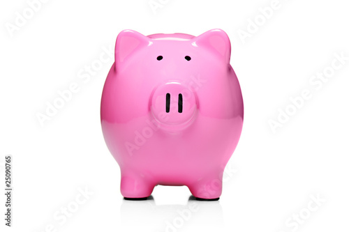 Piggy bank style money box isolated on white background