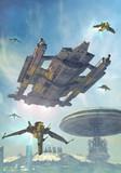spaceship and futuristic city
