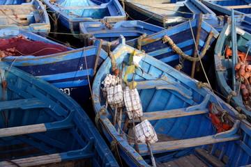 Blue fishermen boats