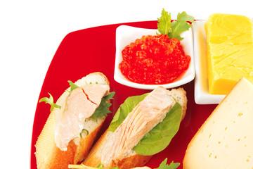 salmon, caviar and cheese