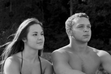 Black and White image of a young teen couple.