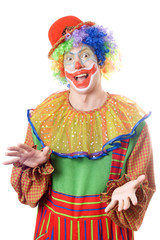 Portrait of a funny young clown