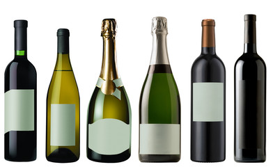 Set of Bottles of wine and champagne isolated on white + clippin