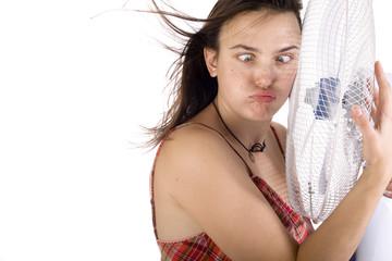 Woman hugs the fan