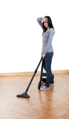 tired  young woman with hoover