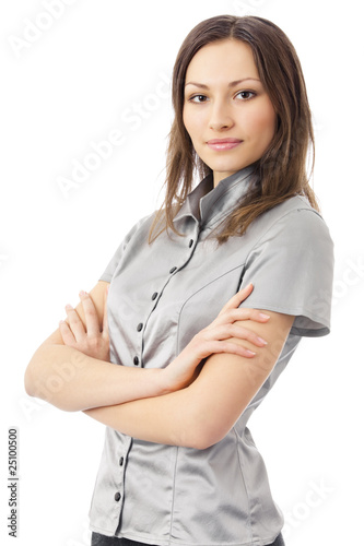 Portrait of happy businesswoman, isolated on white