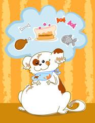 Cane grasso e ingordo pensa al cibo